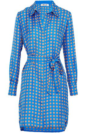 DIANE VON FURSTENBERG Belted printed silk-satin shirt dress