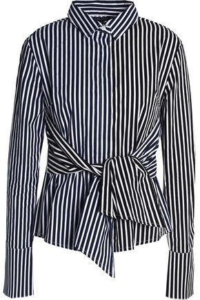 W118 by WALTER BAKER Tie-front striped cotton-poplin shirt