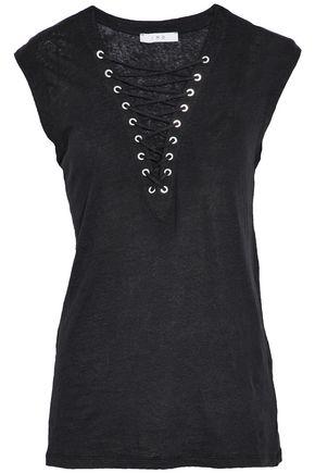 IRO Tissa lace-up slub linen-jersey top