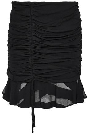IRO Ruched burnout chiffon mini skirt