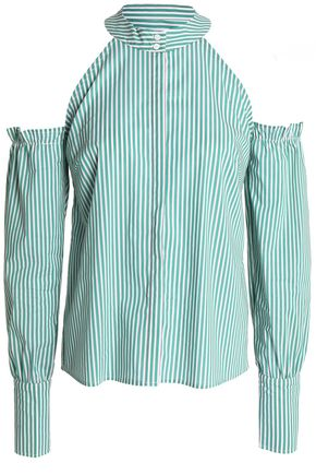 W118 by WALTER BAKER Cold-shoulder striped cotton-poplin shirt