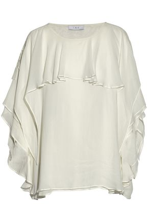 IRO Broderie anglaise-trimmed ruffled crepe de chine blouse