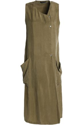 BELSTAFF Wrap-effect washed crepe de chine dress