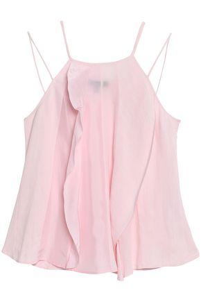 BELSTAFF Ruffled satin, cloqué and cady camisole