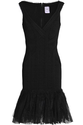 HERVÉ LÉGER Ruffled tulle-paneled bandage-jacquard dress