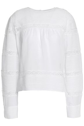 ISABEL MARANT ÉTOILE Lace-trimmed pintucked cotton-poplin blouse
