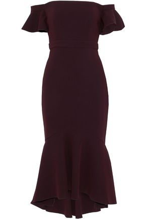 RACHEL ZOE Off-the-shoulder two-tone crepe midi dress
