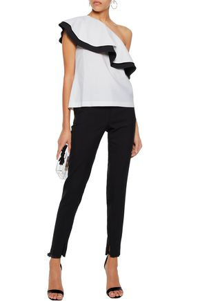 RACHEL ZOE One-shoulder ruffled two-tone twill top