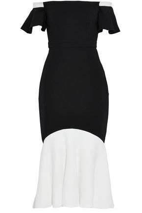 RACHEL ZOE Off-the-shoulder two-tone crepe midi dress