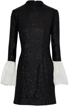 RACHEL ZOE Organza-paneled sequined tulle mini dress