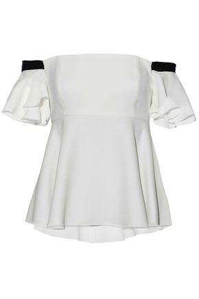 RACHEL ZOE Off-the-shoulder grosgrain-trimmed crepe top