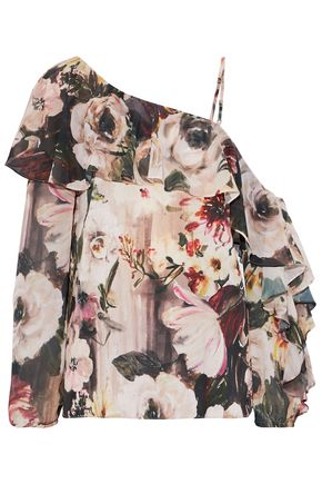 HAUTE HIPPIE One-shoulder ruffled floral-print chiffon blouse