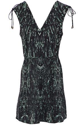 HAUTE HIPPIE Ruched printed crepe de chine mini dress