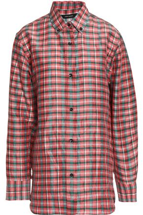 ISABEL MARANT Checked ramie and silk-blend gauze shirt