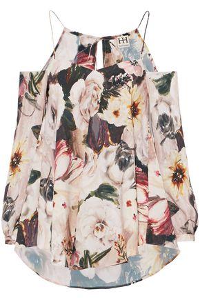 HAUTE HIPPIE Cold-shoulder floral-print crepe de chine top