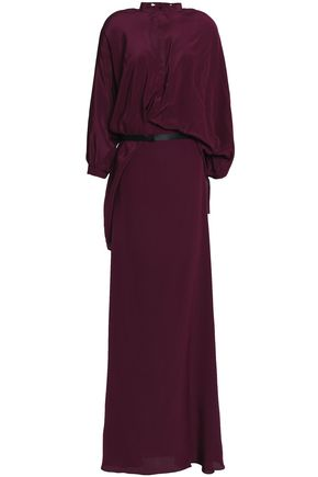 CHALAYAN Layered draped silk crepe de chine gown