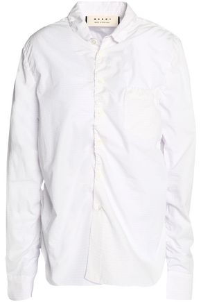 MARNI Ruched striped cotton-poplin shirt