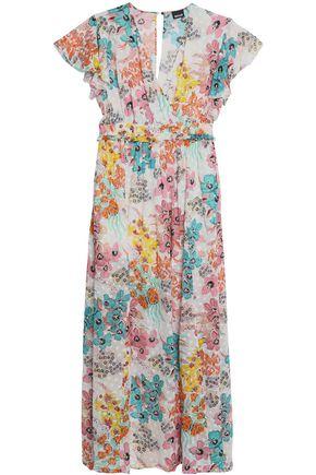JUST CAVALLI Wrap-effect floral-print fil-coupé maxi dress