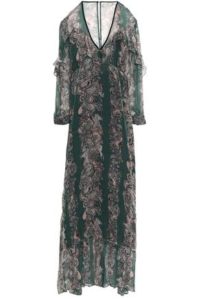 JUST CAVALLI Ruffle-trimmed printed crepon maxi dress