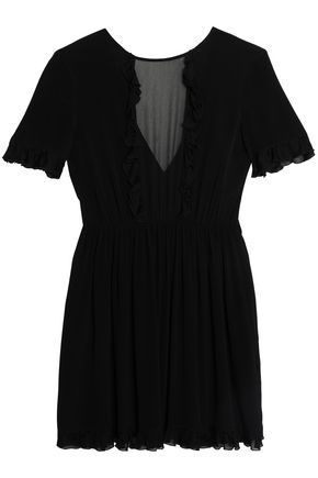 JUST CAVALLI Chiffon-paneled ruffle-trimmed crepe mini dress