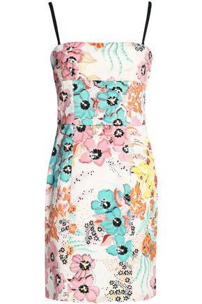 JUST CAVALLI Floral-print stretch-cotton twill mini dress
