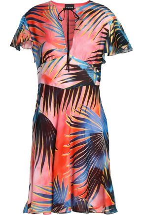 JUST CAVALLI Bow-detailed printed silk-gauze mini dress