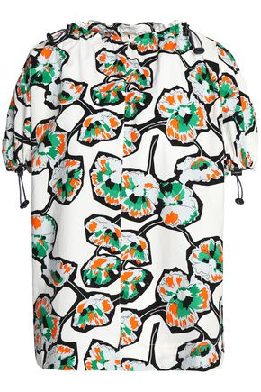 MARNI Gathered floral-print cotton-poplin top
