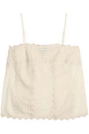 JUST CAVALLI Mesh-paneled lace-trimmed woven top