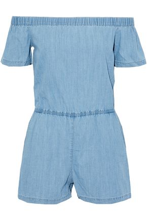 3x1 Off-the-shoulder chambray playsuit