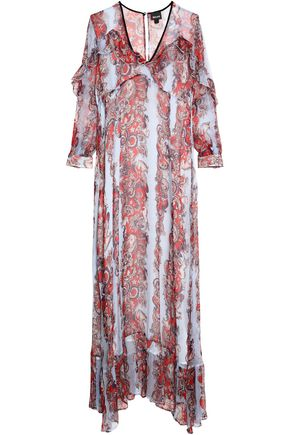 JUST CAVALLI Ruffle-trimmed printed georgette maxi dress