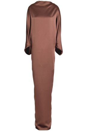 CHALAYAN Satin-paneled draped crepe gown