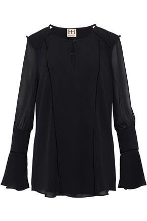HAUTE HIPPIE Cutout chiffon blouse