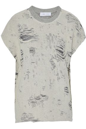 IRO Distressed cotton-blend terry top