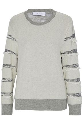 IRO Distressed knit-paneled French-terry cotton-blend top