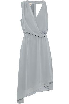 HAUTE HIPPIE Wrap-effect asymmetric cutout crepe de chine dress