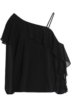 HAUTE HIPPIE Asymmetric ruffled crepe de chine top