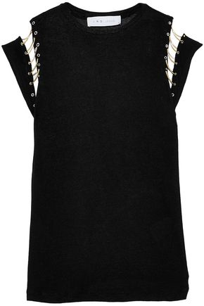 IRO.JEANS Embellished cutout stretch-jersey top