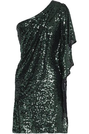 BADGLEY MISCHKA One-shoulder sequined mesh mini dress