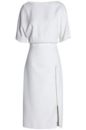AMANDA WAKELEY Zip-detailed gathered crepe dress