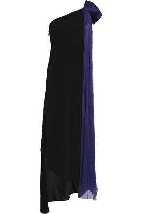 AMANDA WAKELEY One-shoulder draped tulle and crepe midi dress