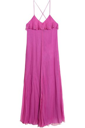 JUST CAVALLI Crystal-embellished ruffled silk-georgette maxi dress