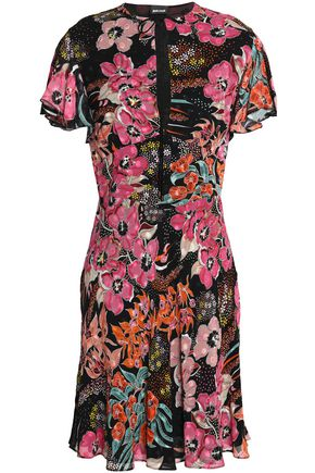 JUST CAVALLI Fluted floral-print crepe de chine mini dress