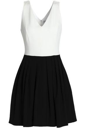 HALSTON HERITAGE Two-tone pleated ponte mini dress