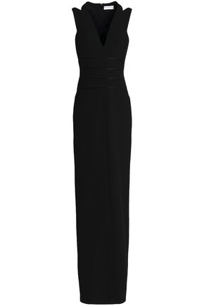 AMANDA WAKELEY Satin-trimmed cutout ponte gown