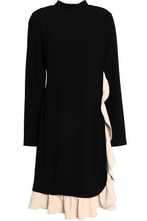MIKAEL AGHAL Ruffled two-tone crepe dress