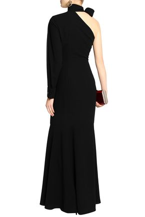 MIKAEL AGHAL One-shoulder pussy-bow crepe gown