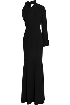 MIKAEL AGHAL One-shoulder pussy-bow crepe maxi dress