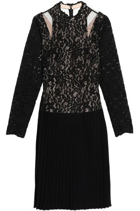 MIKAEL AGHAL Tulle-paneled cutout guipure lace and crepe dress