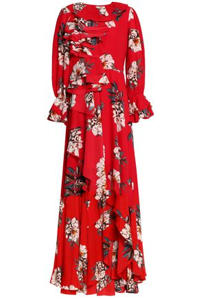 MIKAEL AGHAL Ruffled floral-print crepe gown