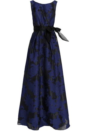 MIKAEL AGHAL Belted fil coupé jacquard gown
